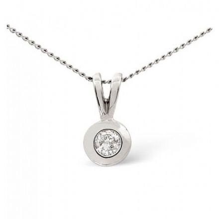 9K White Gold 0.10ct Diamond Pendant, E1010